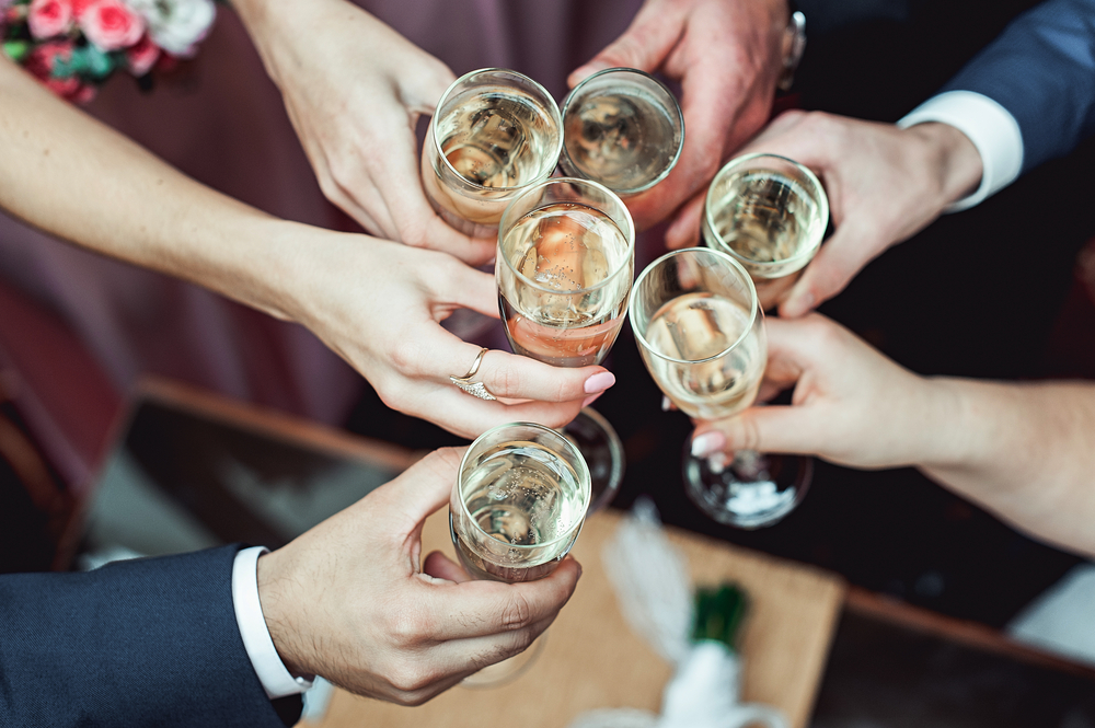 toasts at a wedding