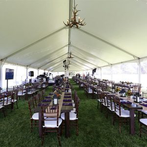 Fruitwood Tables under Canopy from All Out Event Rental