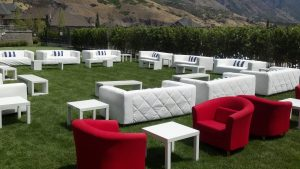 White outdoor furniture available to rent