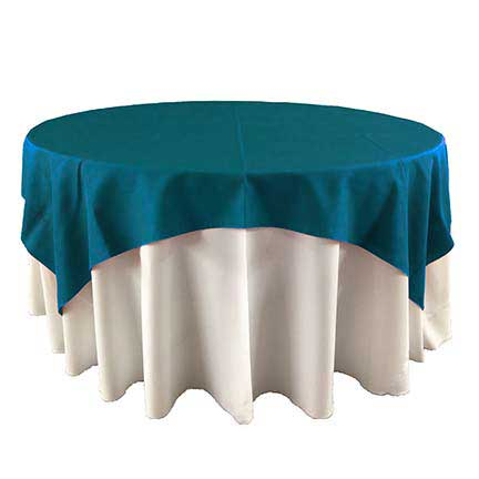 Deep Teal overlay linen for party rental in Eagle Mountain Utah