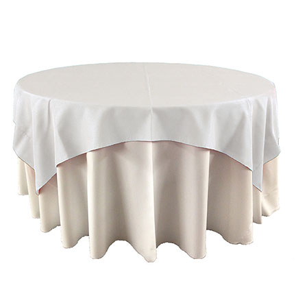 White overlay linen for event rental in Orem