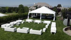 house party with white lounge furniture