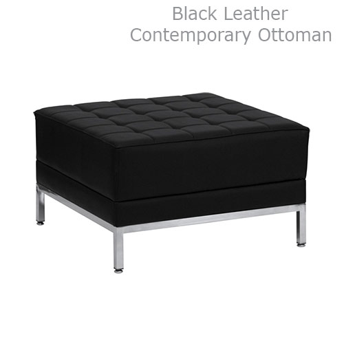 Black Leather Contemporary Ottoman for Rent in Salt Lake