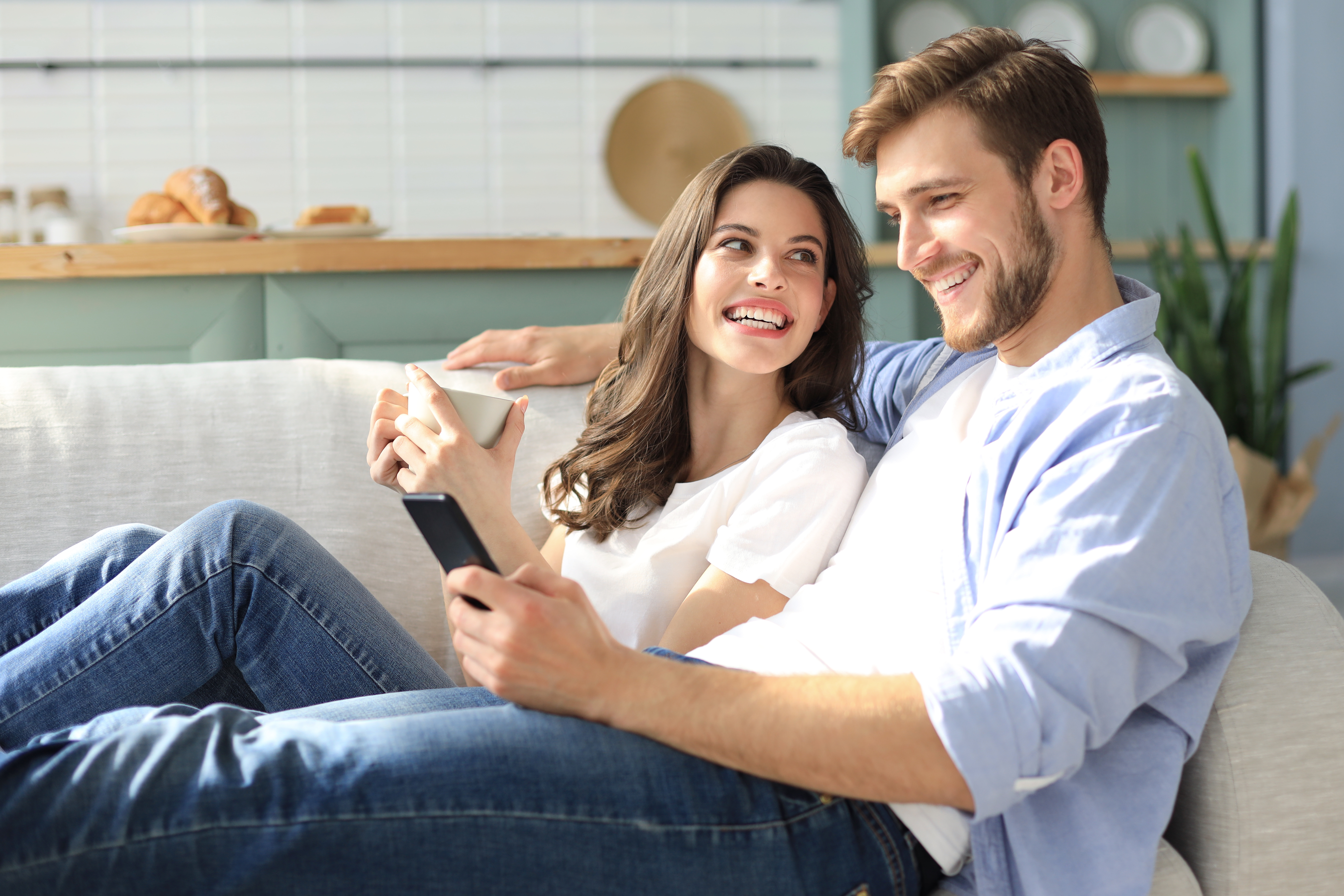 couple having a movie date at home