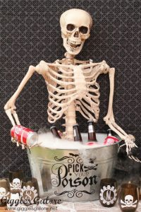 A skeleton with drinks