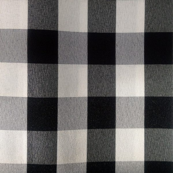 Black and White checkered Polyester Linen Swatch