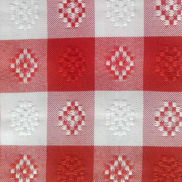 Polyester Red and White Checkered Linen Swatch