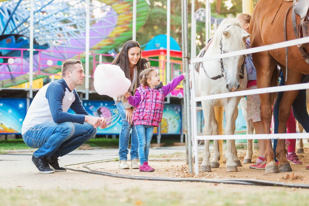 Parents watch their young daughter petting a horse at a carnival.