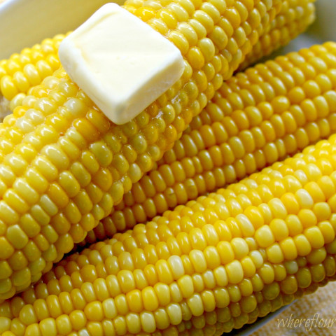 Closeup of yellow corn on the cob with hot butter.