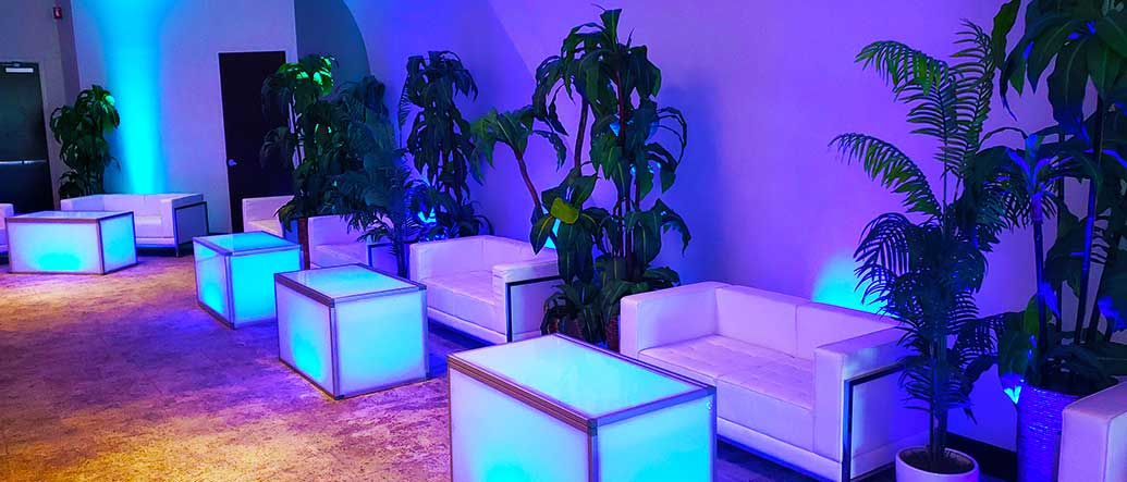 LED Furniture with Plants and Lighting for Private Party Salt Lake City Utah