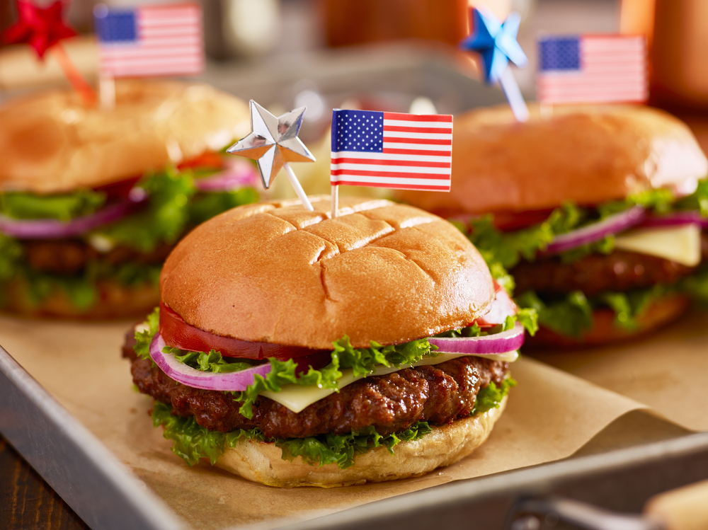burgers with little USA flag on the end of a toothpick and put in burgers