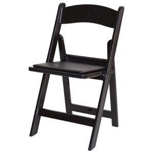 Black Resin Chair with Pad for rent in Salt Lake City Utah