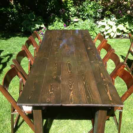 Classic Fruit Wood Banquet Table for rent in West Jordan Utah