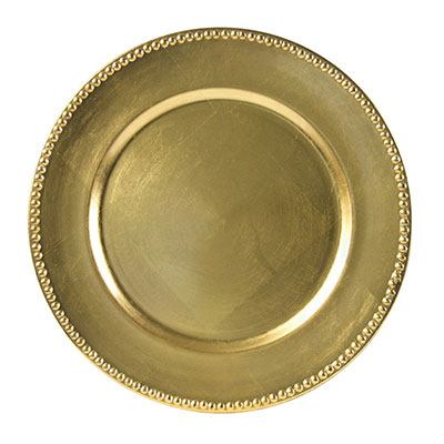 Gold Beaded Lacquer Charger Plate for rent in Salt Lake City Utah