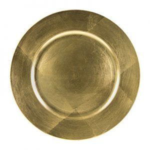 Gold Lacquer Charger Plate Round 13 inch for rent in Salt Lake City Utah