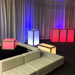 LED Lights with White Leather Furniture for Rent in Salt Lake and Utah County
