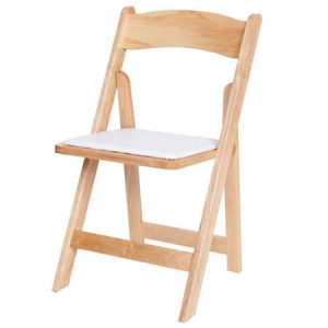 Natural Wood Chair with Pad for rent in Salt Lake City Utah