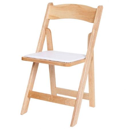 Natural Wood Chair with Pad for rent in Salt Lake City Utah