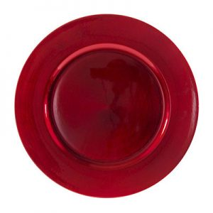 Red Lacquer Charger Plate for rent in Salt Lake City Utah