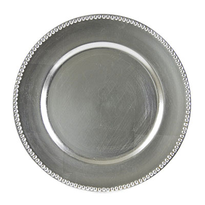 Silver Beaded Lacquer Charger Plate for rent in Salt Lake City Utah