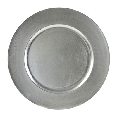 Silver Lacquer Charger Plate for rent in Salt Lake City Utah
