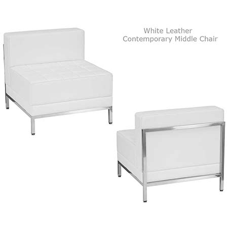 White Contemporary Leather Middle chair for rent in Riverton Utah