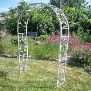 White Metal French Ivory Metal Arch for rent in Park City Utah
