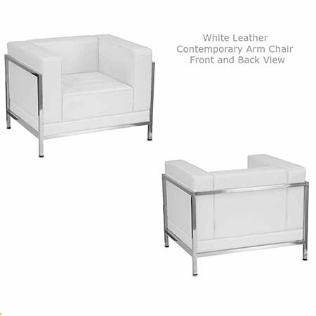White Leather Contemporary Arm Chair for rent in West Jordan Utah