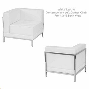 White Leather Contemporary Chair Sectional for rent in South Jordan utah