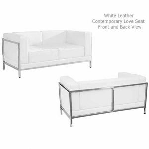 White Leather Contemporary Love Seat for rent in Bluffdale Utah
