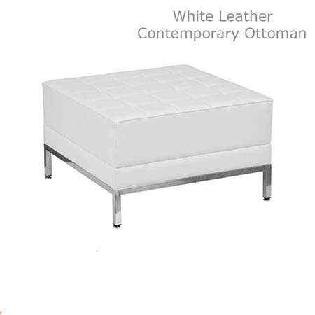 contemporary white leather ottoman all out event rental