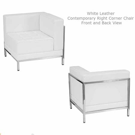White leather Contemporary Chair for rent in Salt lake City Utah