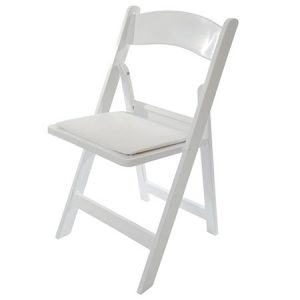 White Resin Chair with Pad for rent in Salt Lake City Utah