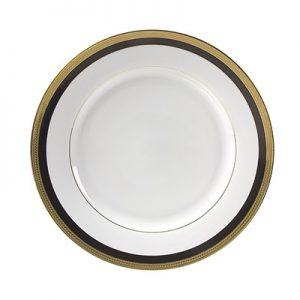 Sahara Black and Gold Dinner plate for rent in Salt Lake City Utah