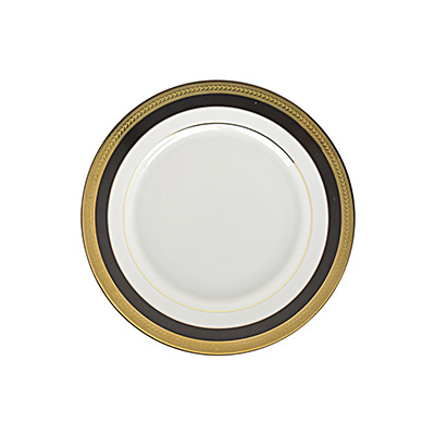 Sahara Black and Gold salad plate 8 inch for rent in Salt Lake City Utah