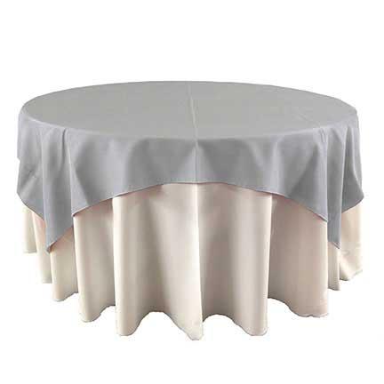 Light gray overlay linen for party rental in SLC Utah