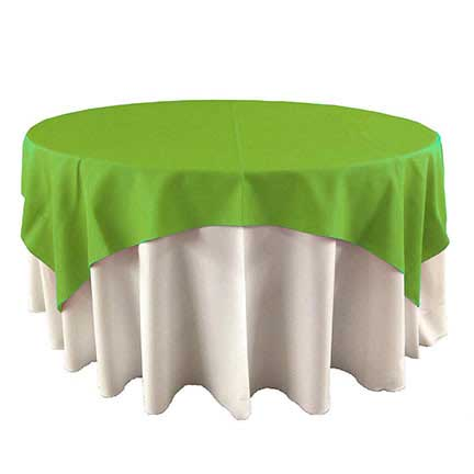 Bright Lime green overlay linen for rent in Midvale Utah