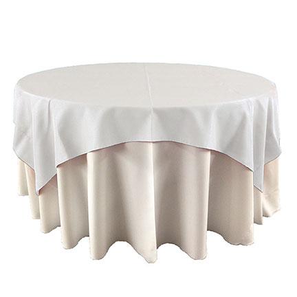 White overlay linen for event rental in Orem