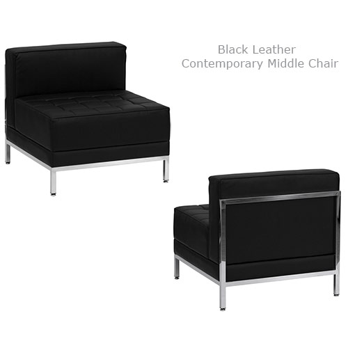 Black Leather Contemporary Middle Chair for rent in Utah