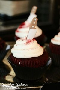 A cupcake with knife in it Pinterest picture