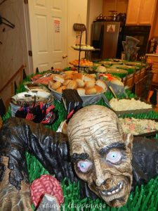 a zombie at the dinner table