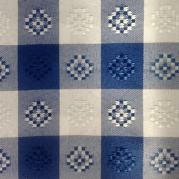 Polyester Blue and White Checkered Linen Swatch