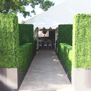 Boxwood Hedge Display with Planter Boxes for Rent in Utah
