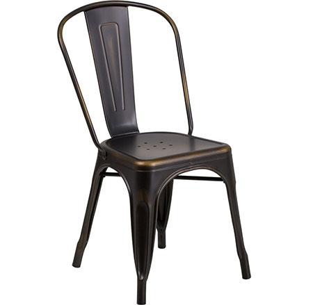 Metal Distressed Copper Elio Chair for Rent in Salt Lake City Utah