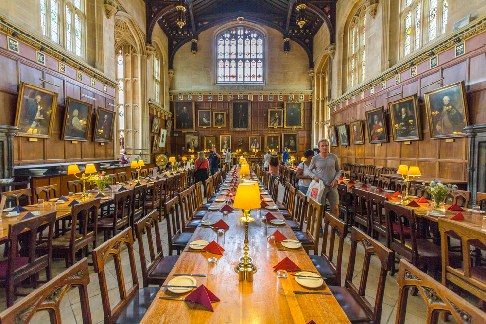 A Harry Potter themed meal in a Great Hall setting.