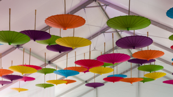 colorful umbrella decorations at a Utah wedding
