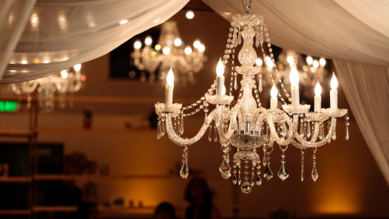 chandeliers at a Utah wedding reception provide perfect lighting