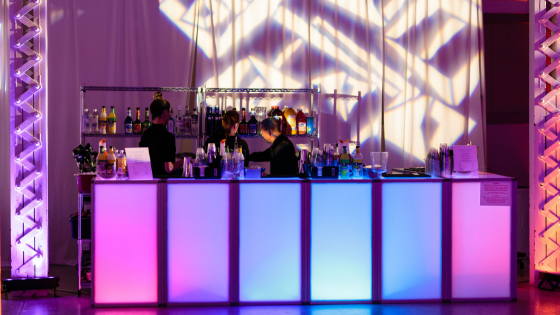 an open bar at a Utah wedding reception