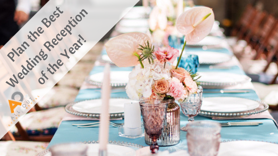 wedding reception dining table with blog title and All Out logo