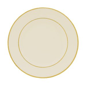 Gold Double Line Cream Dinner Plate for Rent in Salt Lake City Utah